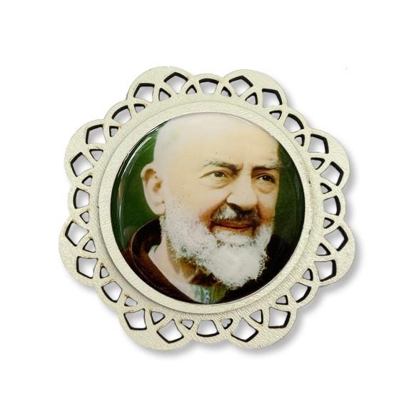 IA81206 - Imã São Padre Pio De Pietrelcina MDF Resinado - 7,5x7,5cm