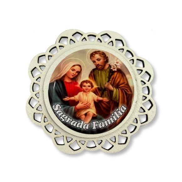 IA81310 - Imã Sagrada Família MDF Resinado - 7,5x7,5cm