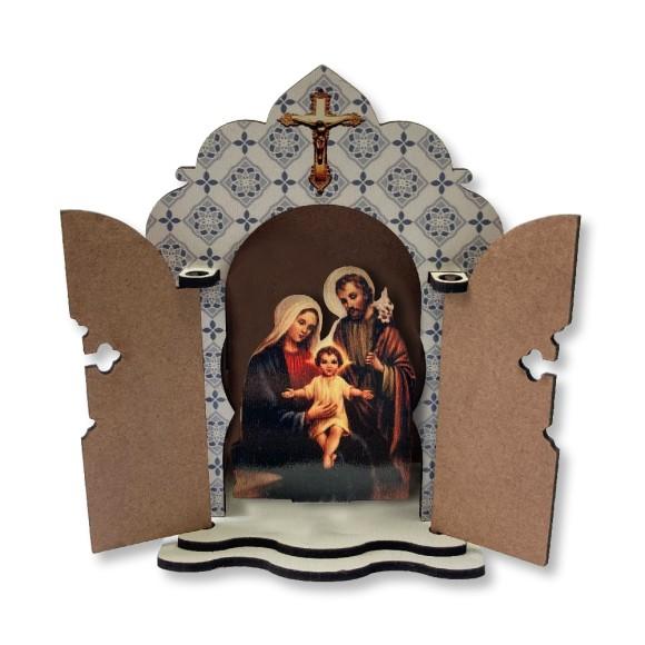 OT811450 - Oratório Sagrada Família MDF - 13,4x13,4cm