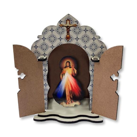 OT811402 - Oratório Jesus Misericordioso MDF - 13,4x13,4cm