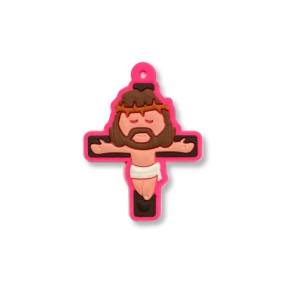 CZ1710050 - Crucifixo Rosa Emborrachado - 5x3,7cm