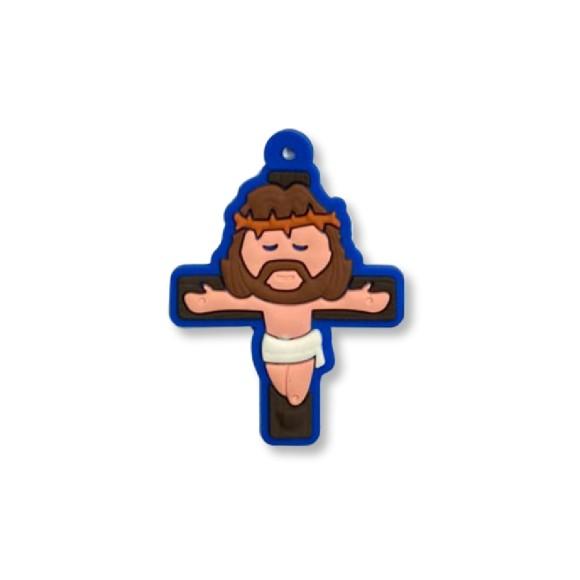 CZ1710051 - Crucifixo Azul Emborrachado - 5x3,7cm