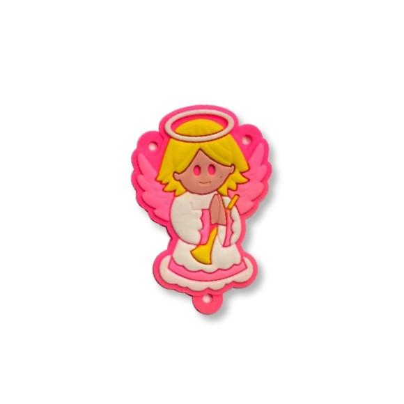 ET1710001 - Entremeio Anjo Da Guarda Rosa Emborrachado - 5,3x3,5cm