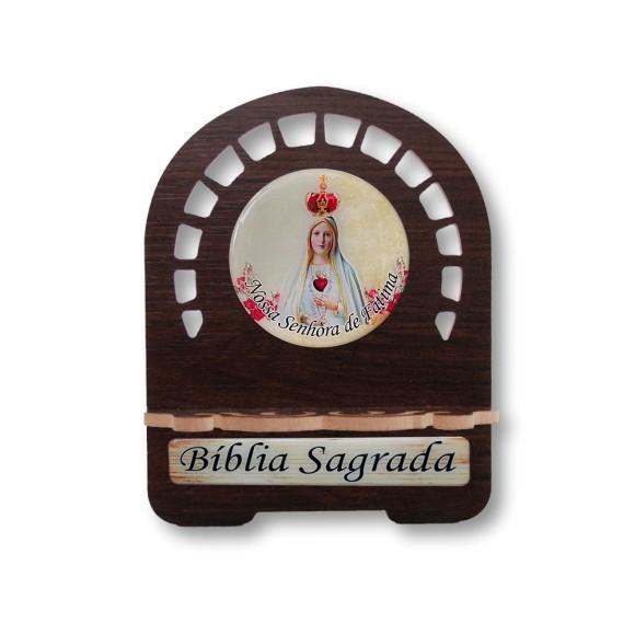 PB810301 - Porta Bíblia N. Sra. De Fátima MDF Resinado - 22x17,5cm