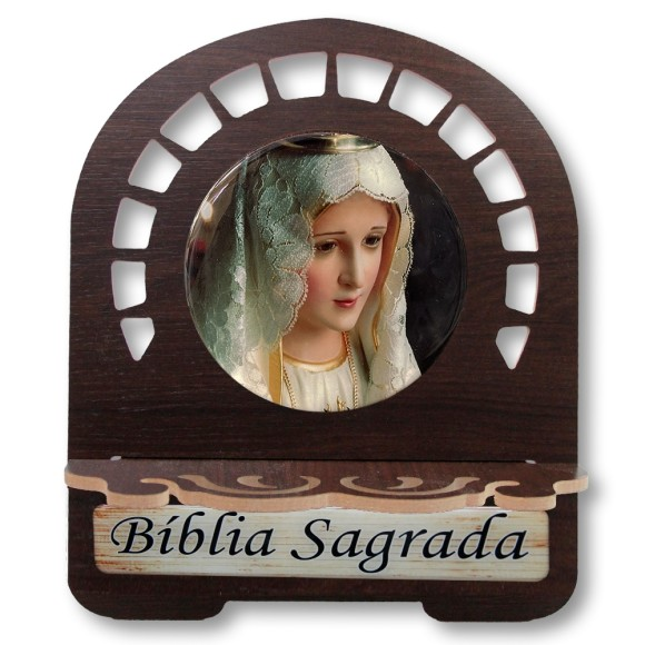 PB812305 - Porta Bíblia N. Sra. de Fátima MDF Resinado - 30,5x25,5cm