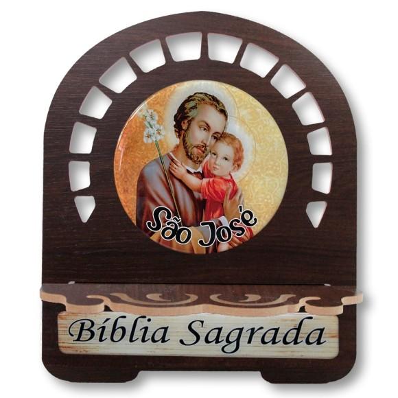 PB812530 - Porta Bíblia São José MDF Resinado - 30,5x25,5cm