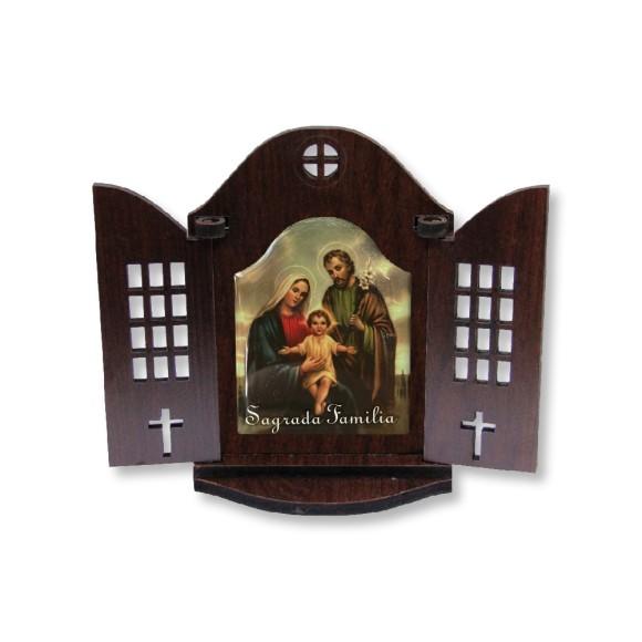 OT814250 - Oratório Sagrada Família Madeira - 13x9,5cm