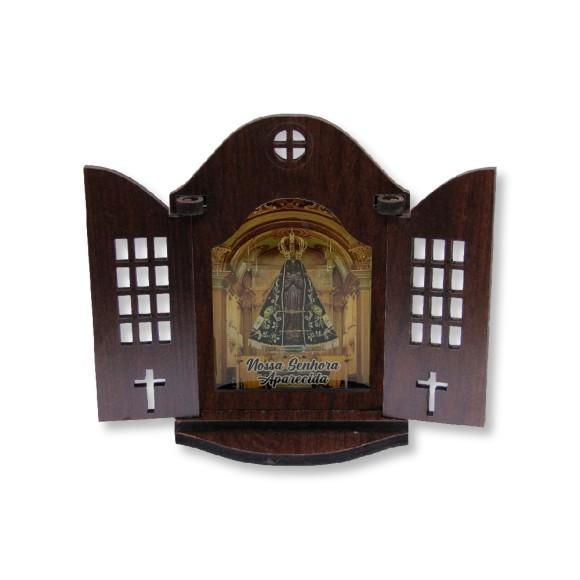OT814210 - Oratório N. Sra. Aparecida Madeira - 13x9,5cm