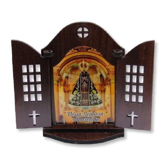 OT814260 - Oratório N. Sra. Aparecida Madeira - 16,5x20cm
