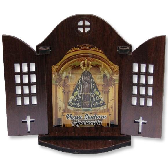OT814300 - Oratório N. Sra. Aparecida  Madeira - 21,5x26cm