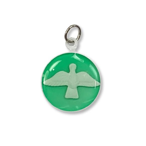 MD480149P3 - Medalha Divino Espírito Santo Metal Resinado Verde c/ 3un. - 2,5x2cm
