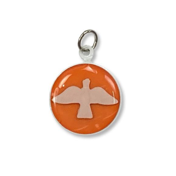 MD480145P3 - Medalha Divino Espírito Santo Metal Resinado Laranja c/ 3un. - 2,5x2cm
