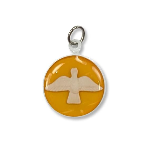 MD480144P3 - Medalha Divino Espírito Santo Metal Resinado Amarela c/ 3un. - 2,5x2cm