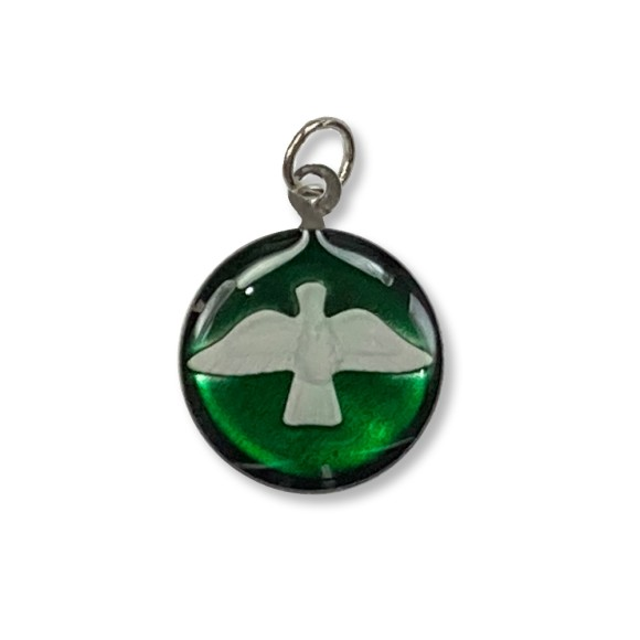 MD480143P3 - Medalha Divino Espírito Santo Níquel Resinada Verde c/ 3un. - 2,5x2cm