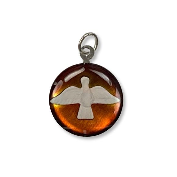 MD480142P3 - Medalha Divino Espírito Santo Níquel Resinada Bege Escuro c/ 3un. - 2,5x2cm