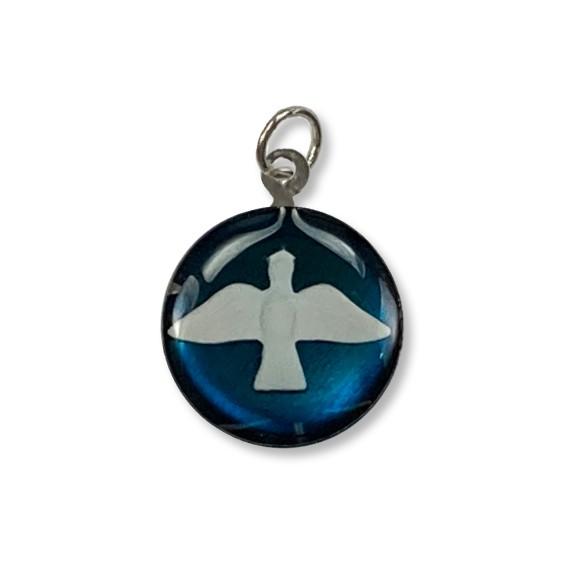 MD480140P3 - Medalha Divino Espírito Santo Níquel Resinada Azul Turquesa c/ 3un. - 2,5x2cm