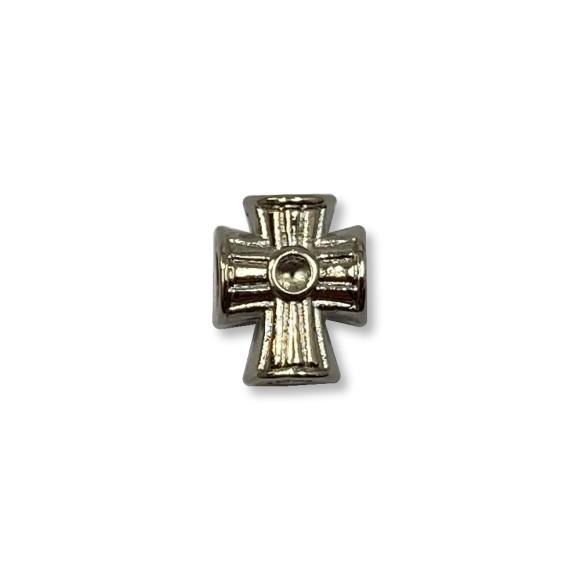 ET1530550P3 - Entremeio Cruz Passante Níquel c/3un. - 1,5x1,3cm