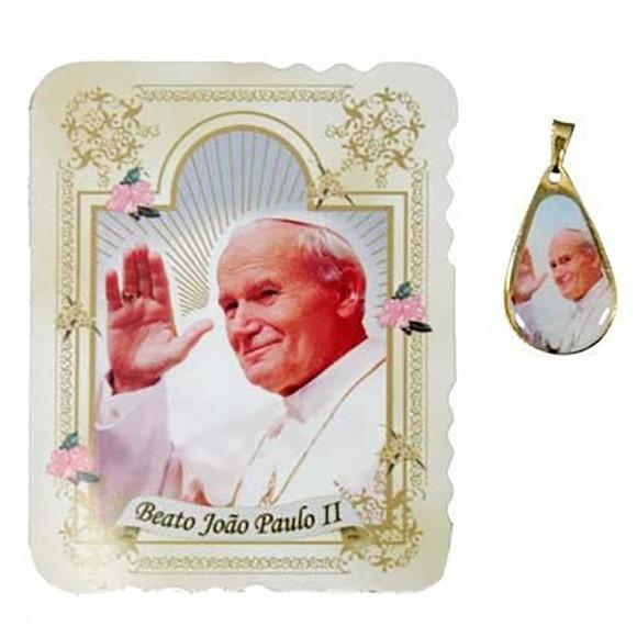 CM141400 - Cartão Papa João Paulo II c/ Medalha - 7,5x6cm