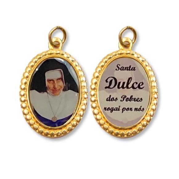 MD106017P3 - Medalha de Alumínio Dupla Oval Grande c/ 3un. Santa Dulce dos Pobres (Irmã Dulce) - 3x2cm