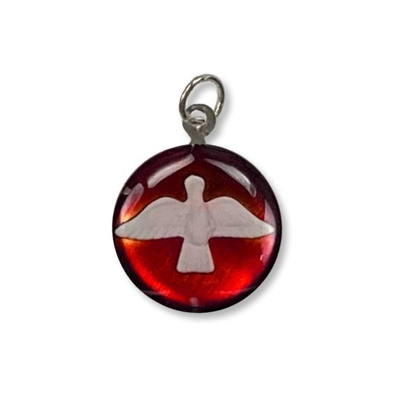 MD480141P3 - Medalha Divino Espírito Santo Níquel Resinada Vermelha c/ 3un. - 2,5x2cm