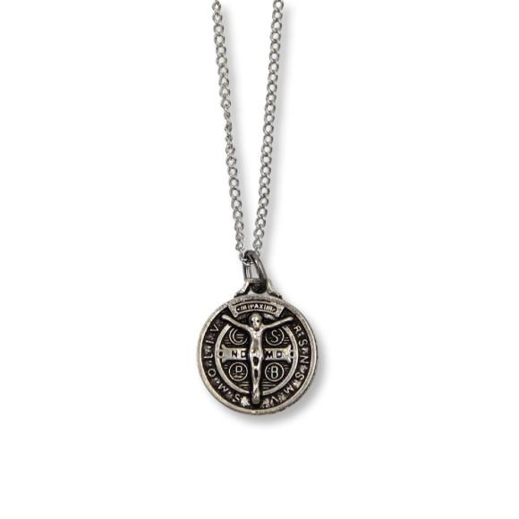 AS1340380 - Corrente Medalha São Bento Níquel - 34x2cm
