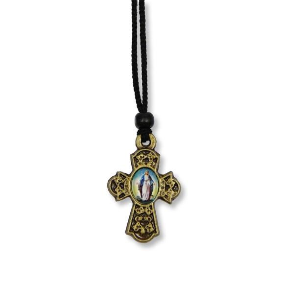 AS1370103 - Cordão N. Sra. Das Graças c/ Cruz Ouro Velho - 31,5x2,5cm