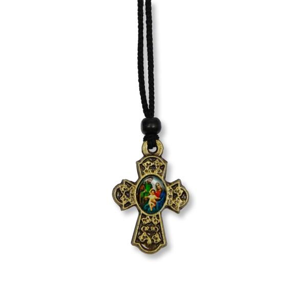 AS1370270 - Cordão Sagrada Família e Sagrado Coração de Jesus c/ Cruz Ouro Velho - 31,5x2,5cm