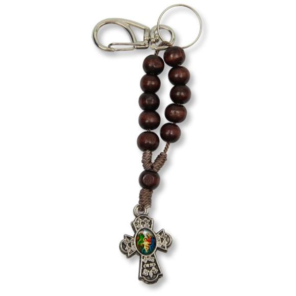 AS1390180 - Chaveiro Sagrada Família e Sagrado Coração de Jesus Dezena Madeira - 15x2,5cm