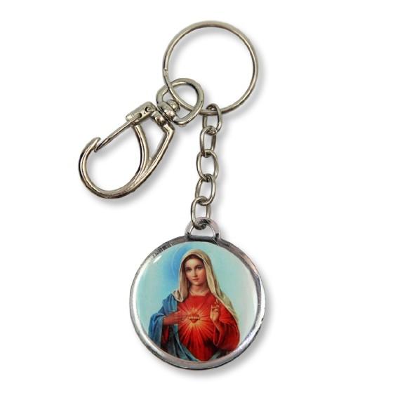 AS1391006 - Chaveiro Imaculado Coração de Maria Duplo Resinado - 12x3,5cm