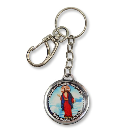 AS1391101 - Chaveiro Santa Chagas de Jesus Duplo Resinado - 12x3,5cm