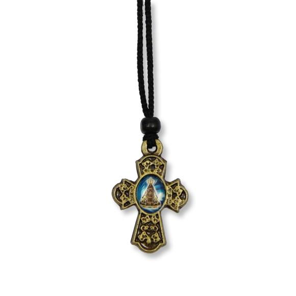 AS1370101 - Cordão N. Sra. Aparecida c/ Cruz Ouro Velho - 31,5x2,5cm