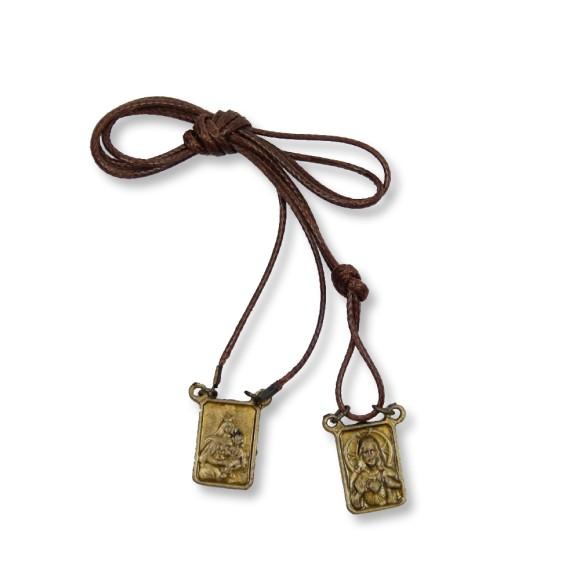 AS1350001 - Escapulário N. Sra. Carmo Sagrado Coração de Jesus Ouro Velho - 41,8x1,2cm