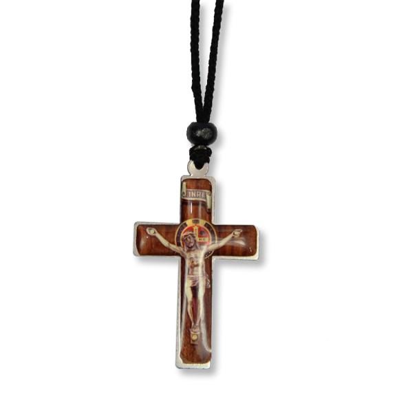 AS1370300 - Cordão São Bento c/ Crucifixo Níquel - 33x3cm