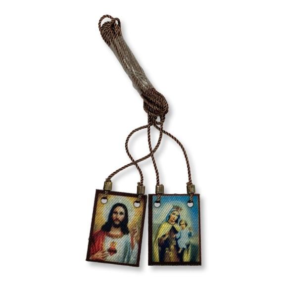 ES149006 -  Escapulário N. Sra. Do Carmo e Sagrado Coração De Jesus Tecido - 59x2cm