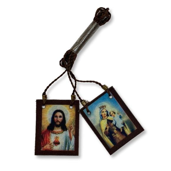 ES149008 -  Escapulário N. Sra. Do Carmo e Sagrado Coração De Jesus Tecido - 62x2,8cm