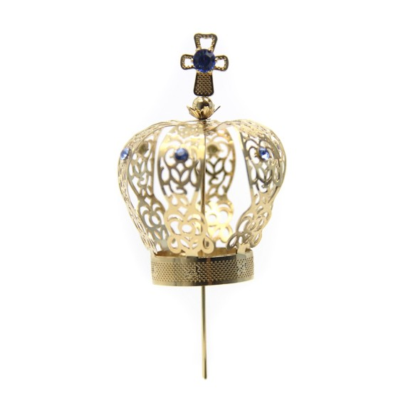 CS3106 - Coroa com Strass Azul p/ Imagem de Nossa Senhora (n° 07) - 11x6cm Diâmetro 3cm
