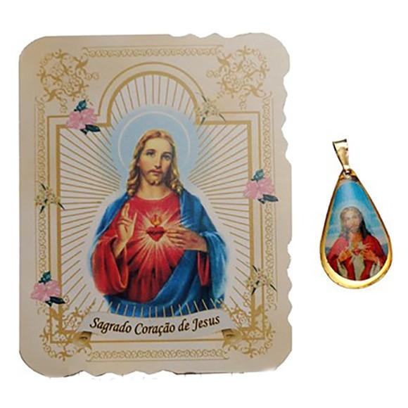 CM141405 - Cartão Sagrado Coração de Jesus c/ Medalha - 7,5x6cm