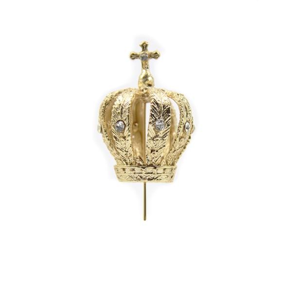 CS3152 - Coroa de Fundição c/ Strass Branco p/ Imagem de Nossa Senhora (F3) - 9x5cm Diâmetro 1,8cm