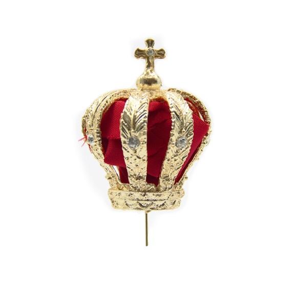 CS3156 - Coroa de Fundição c/ Strass Branco c/ Tecido p/ Imagem de Nossa Senhora (F4) - 12x7cm Diâmetro 2,5cm