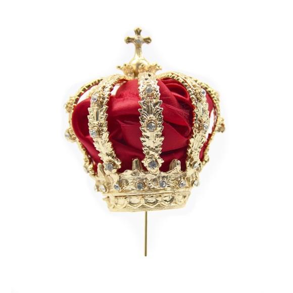 CS3158 - Coroa de Fundição c/ Strass Branco c/ Tecido p/ Imagem de Nossa Senhora (F6) - 15x10cm Diâmetro 3cm