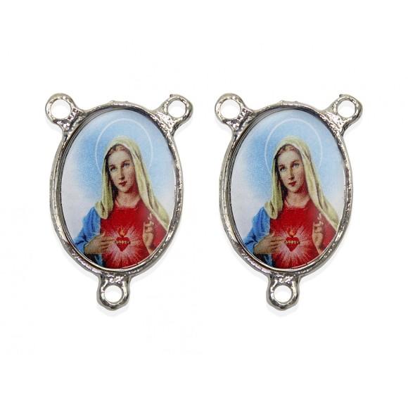 ET1683009 - Entremeio Sagrado Coração De Maria Duplo Resinado - 3,6x2,6cm