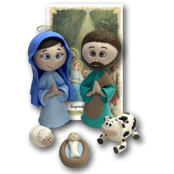IM32022 - Sagrada Família (Presépio) de Biscuit c/ Oração