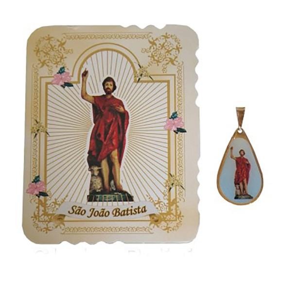 CM141411 - Cartão São João Batista c/ Medalha - 7,5x6cm