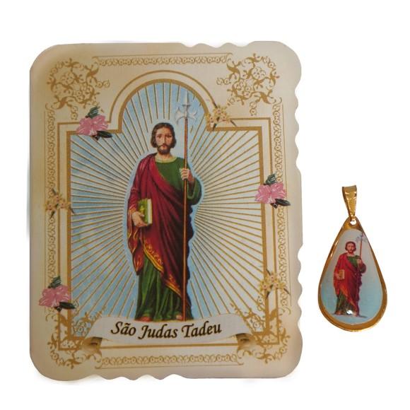 CM141414 - Cartão São Judas Tadeu c/ Medalha - 7,5x6cm
