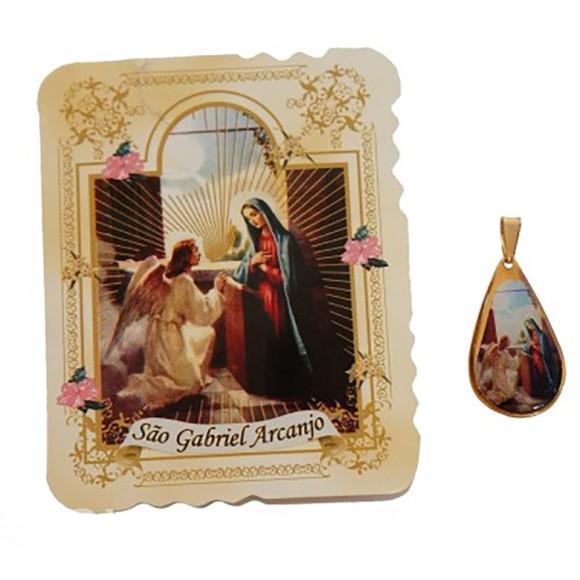 CM41803 - Cartão São Gabriel Arcanjo c/ Medalha - 7,5x6cm