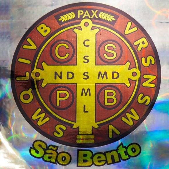 AD8215 - Adesivo Medalha de São Bento Brilhante - 14x12cm