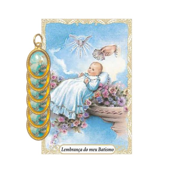 CT1446P6 - Cartão Lembrança Batismo e Medalha Dupla  c/ 6un. Menino - 9,5x6,5cm