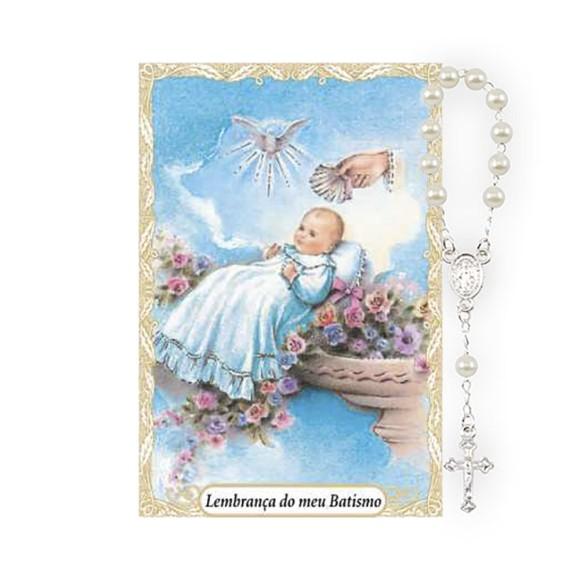CT1449 - Cartão Lembrança Batismo e Dezena Menino - 9,5x6,5cm