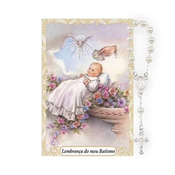 CT1450 - Cartão Lembrança Batismo e Dezena Menina - 9,5x6,5cm