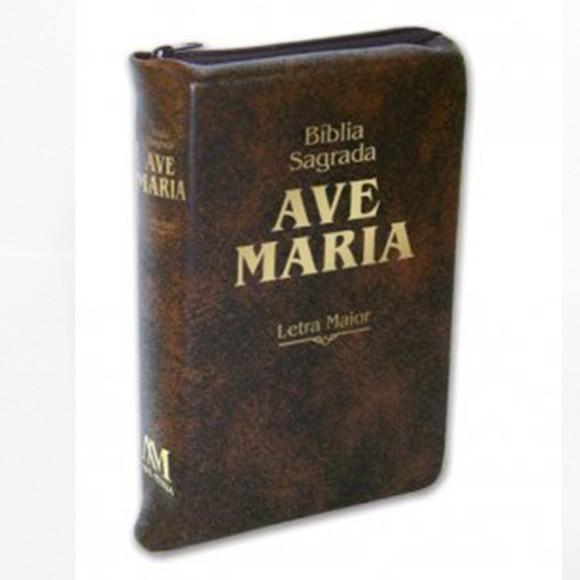BI1512 - Bíblia Sagrada Ave Maria Letra Maior Marrom c/ Ziper - 23x15cm
